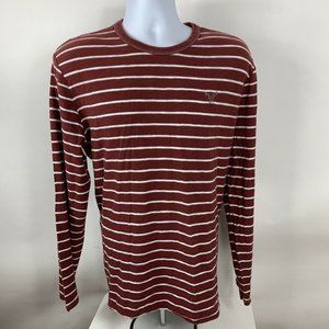 American Eagle Shirt Men's Size XL Striped Crew Neck Long Sleeve Base Layer Red